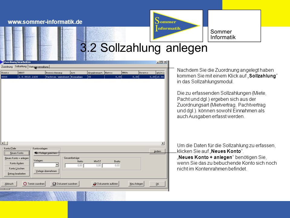 3.2 Sollzahlung anlegen www.sommer-informatik.de
