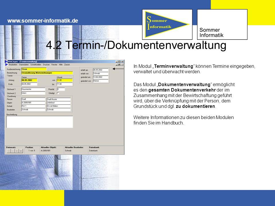 4.2 Termin-/Dokumentenverwaltung