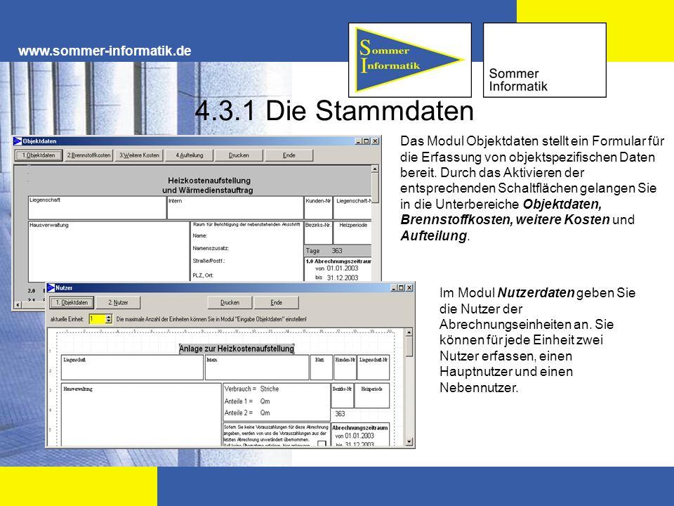 4.3.1 Die Stammdaten www.sommer-informatik.de