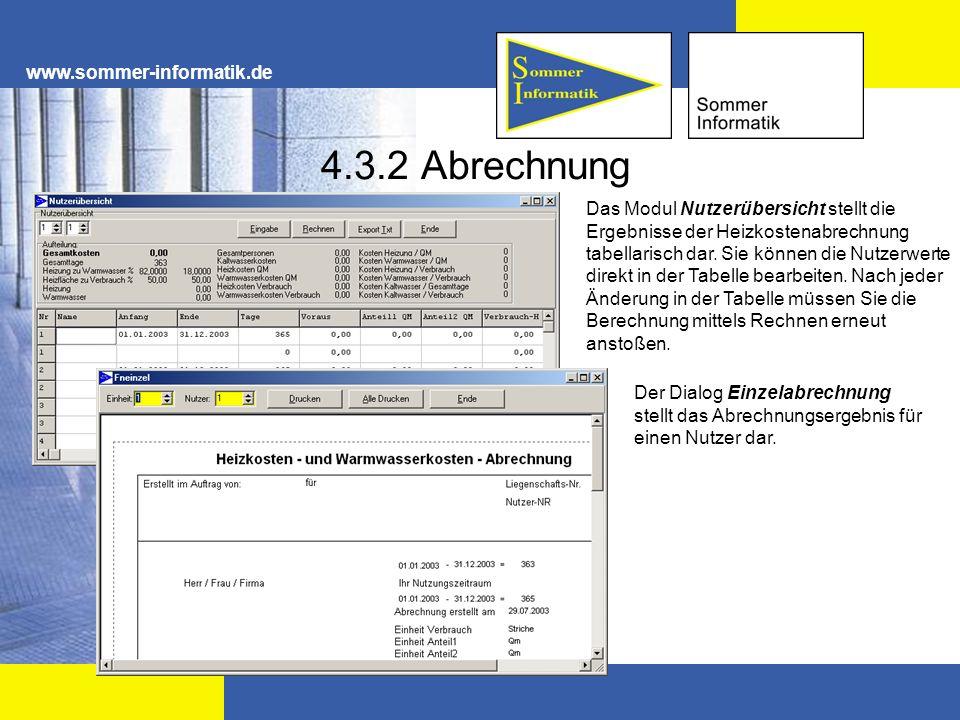 4.3.2 Abrechnung www.sommer-informatik.de