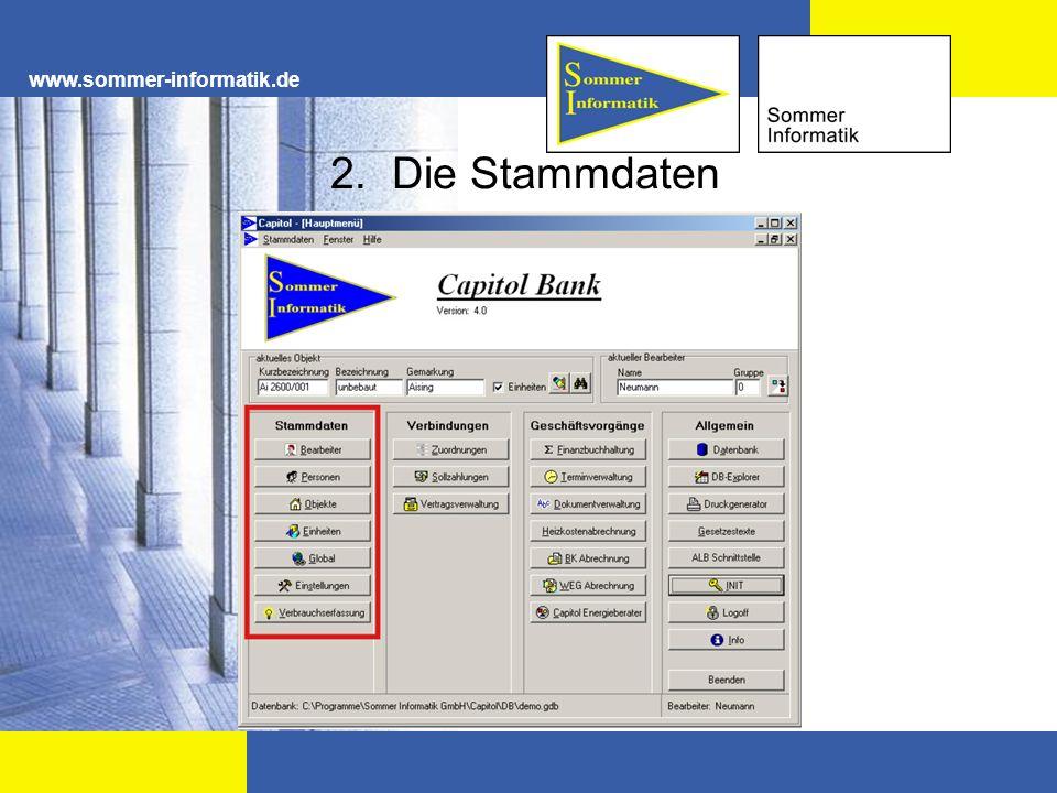 www.sommer-informatik.de 2. Die Stammdaten