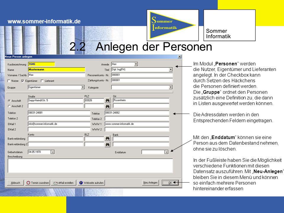 2.2 Anlegen der Personen www.sommer-informatik.de