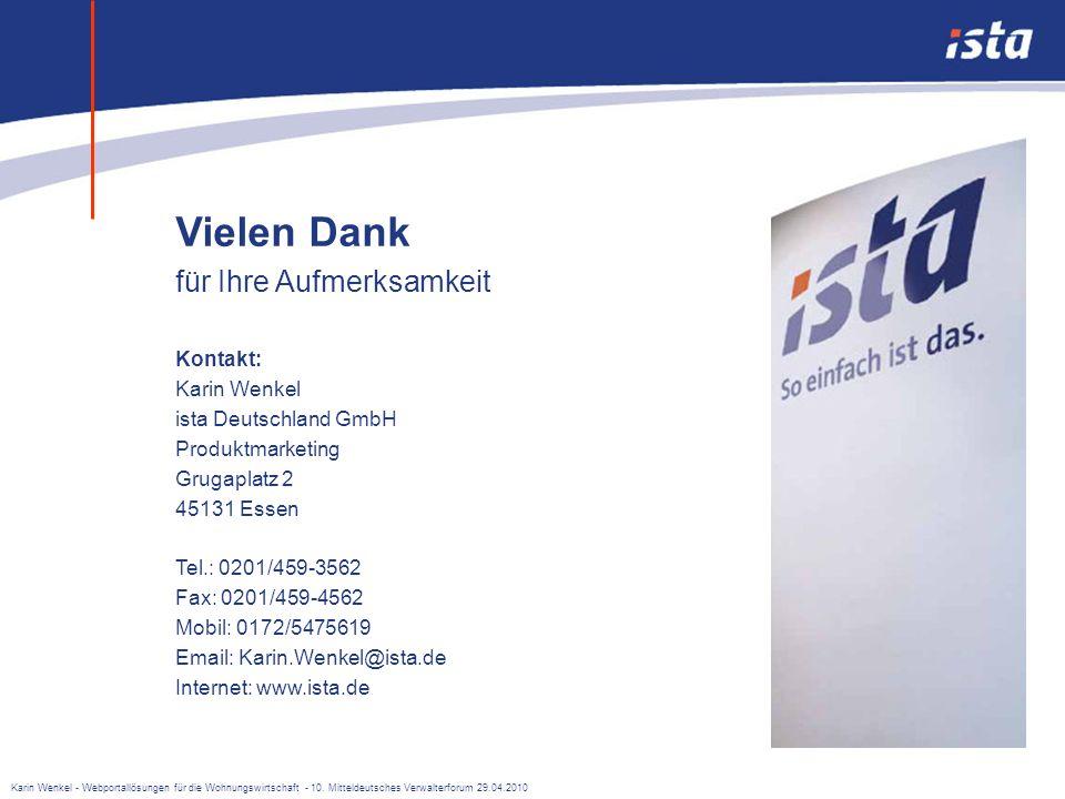 Vielen Dank für Ihre Aufmerksamkeit Kontakt: Karin Wenkel