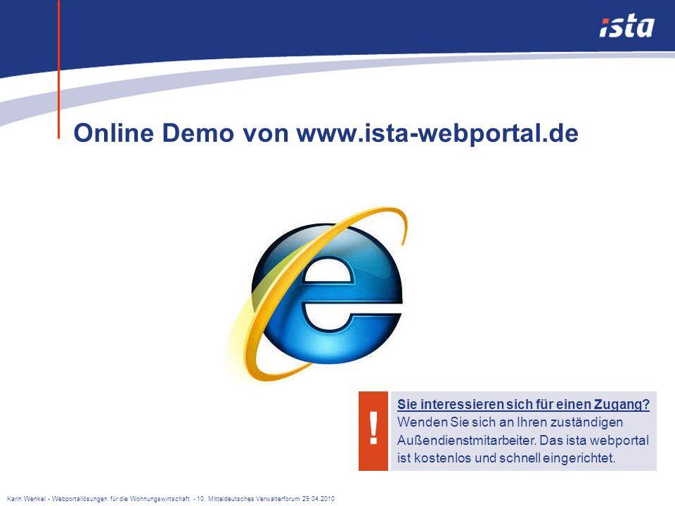 Online Demo von www.ista-webportal.de