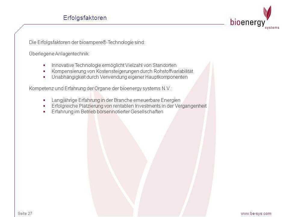 Erfolgsfaktoren Die Erfolgsfaktoren der bioampere®-Technologie sind: