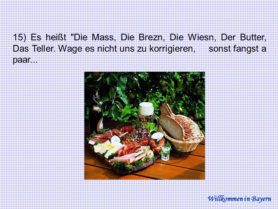15) Es heißt Die Mass, Die Brezn, Die Wiesn, Der Butter, Das Teller