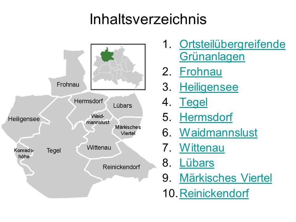 Inhaltsverzeichnis Ortsteilübergreifende Grünanlagen Frohnau