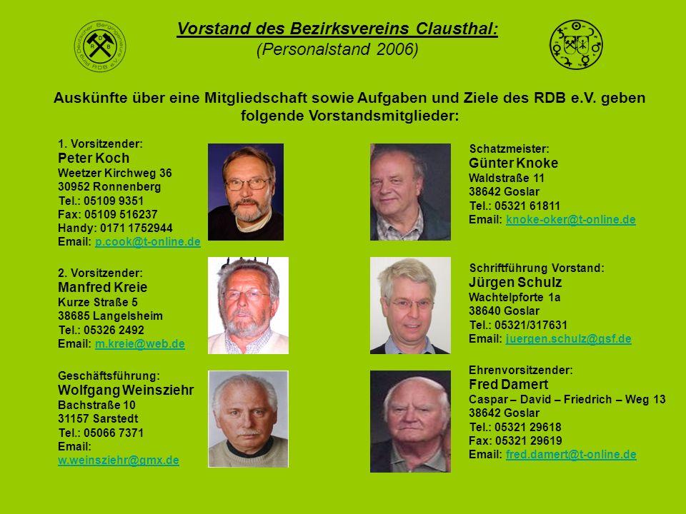 Vorstand des Bezirksvereins Clausthal: