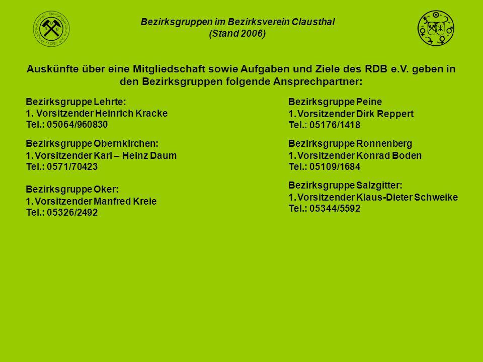 Bezirksgruppen im Bezirksverein Clausthal