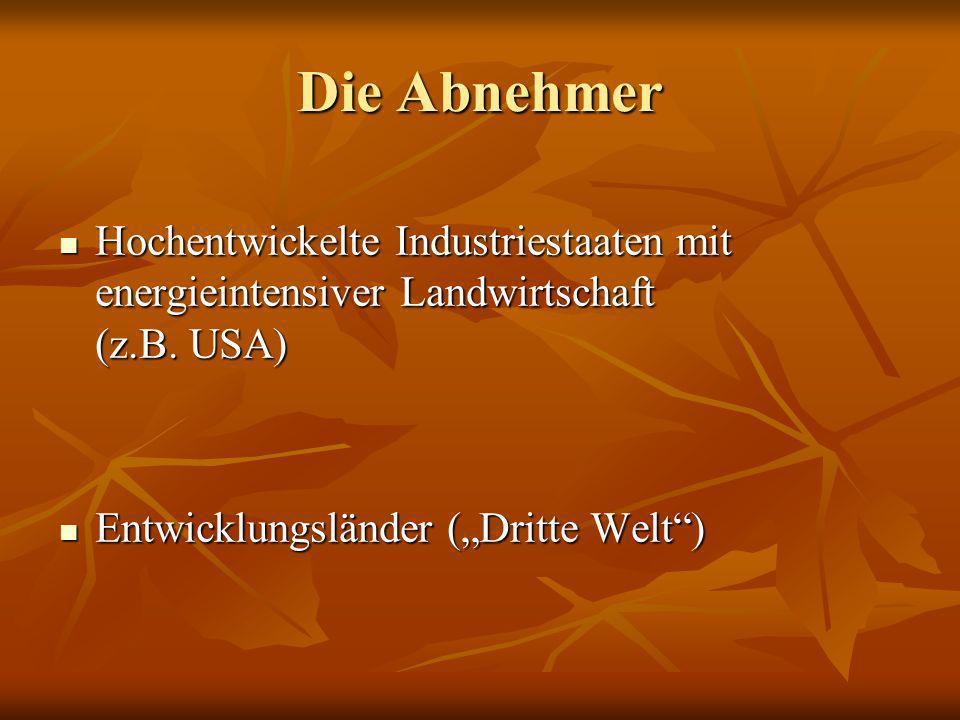 Die Abnehmer Hochentwickelte Industriestaaten mit energieintensiver Landwirtschaft (z.B.