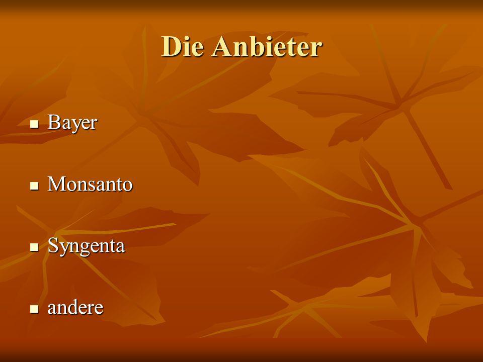 Die Anbieter Bayer Monsanto Syngenta andere