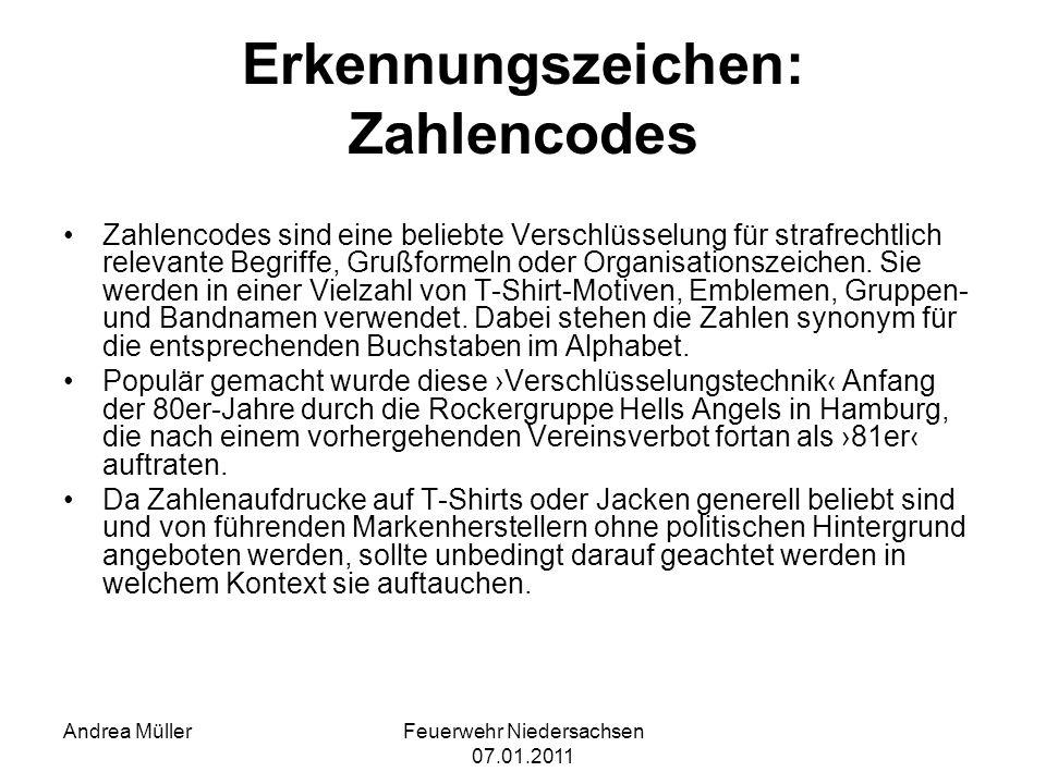 Erkennungszeichen: Zahlencodes
