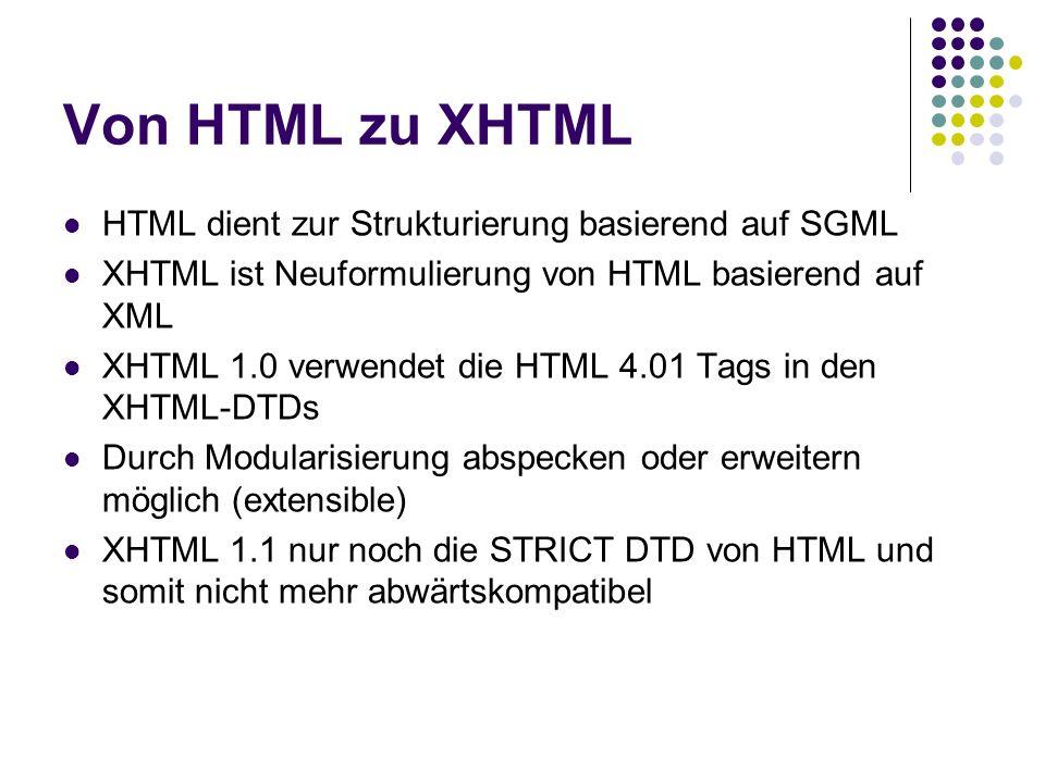 Von HTML zu XHTML HTML dient zur Strukturierung basierend auf SGML