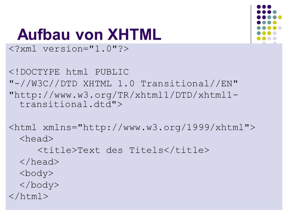 Aufbau von XHTML < xml version= 1.0 > <!DOCTYPE html PUBLIC