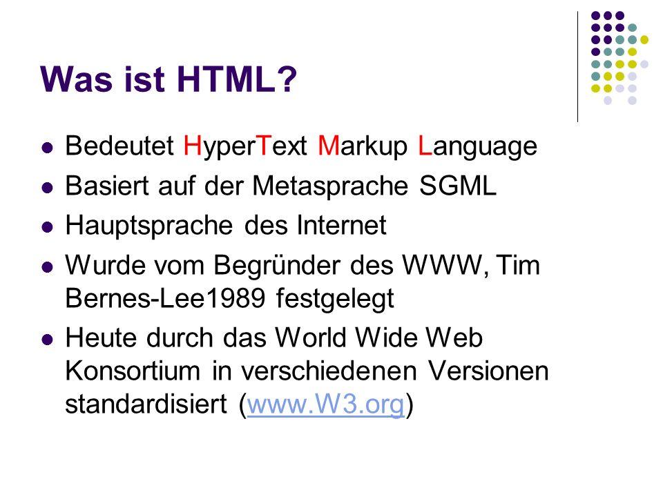 Was ist HTML Bedeutet HyperText Markup Language