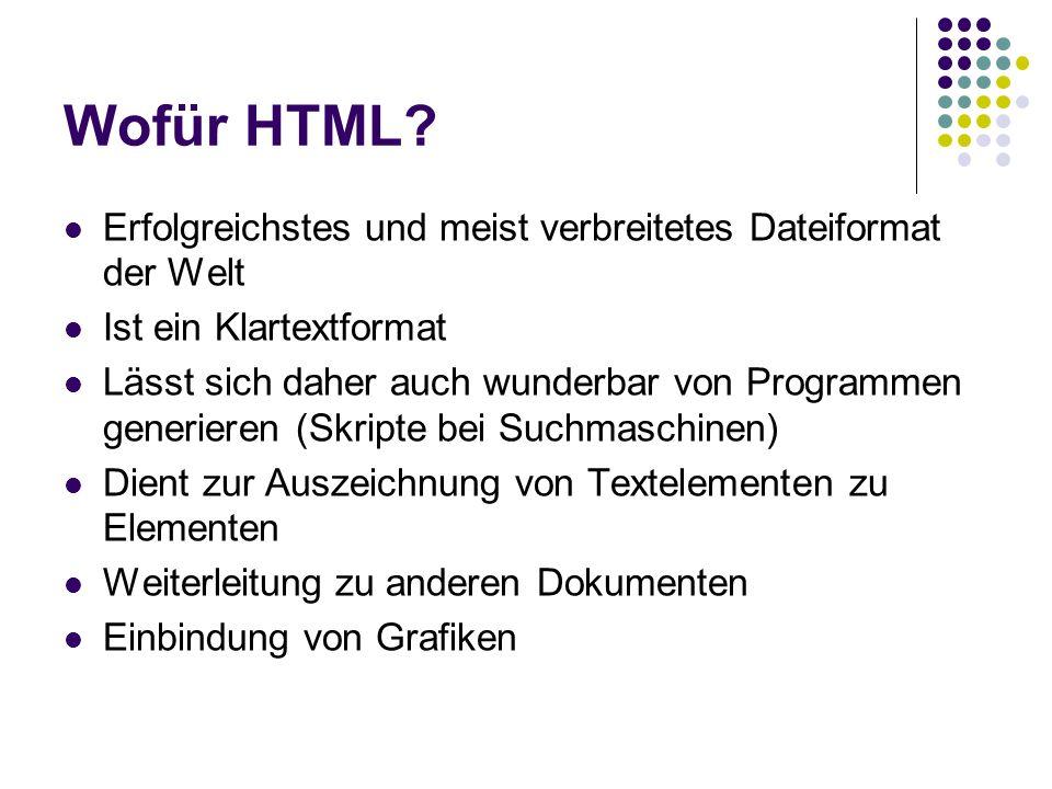 Wofür HTML Erfolgreichstes und meist verbreitetes Dateiformat der Welt. Ist ein Klartextformat.