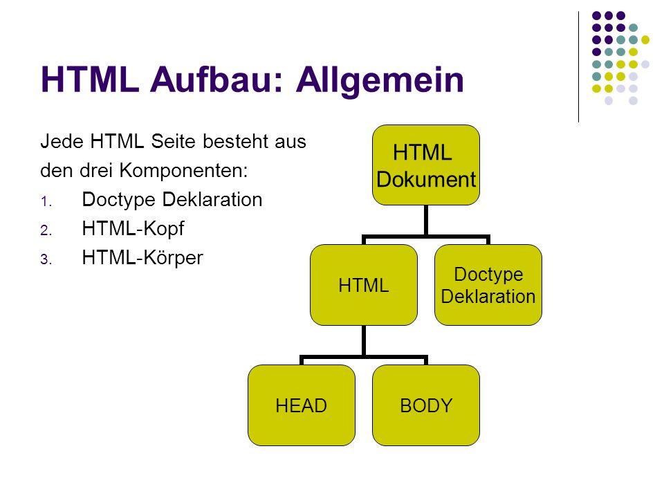 HTML Aufbau: Allgemein