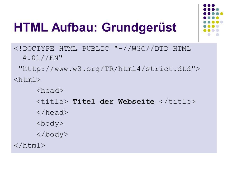 HTML Aufbau: Grundgerüst