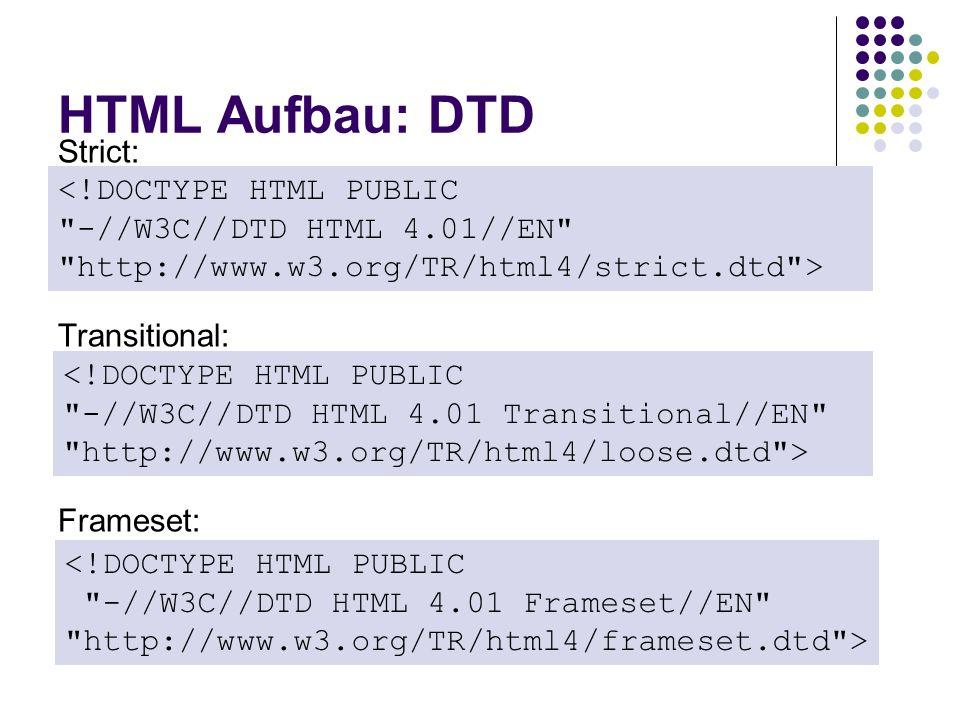 HTML Aufbau: DTD Strict: <!DOCTYPE HTML PUBLIC