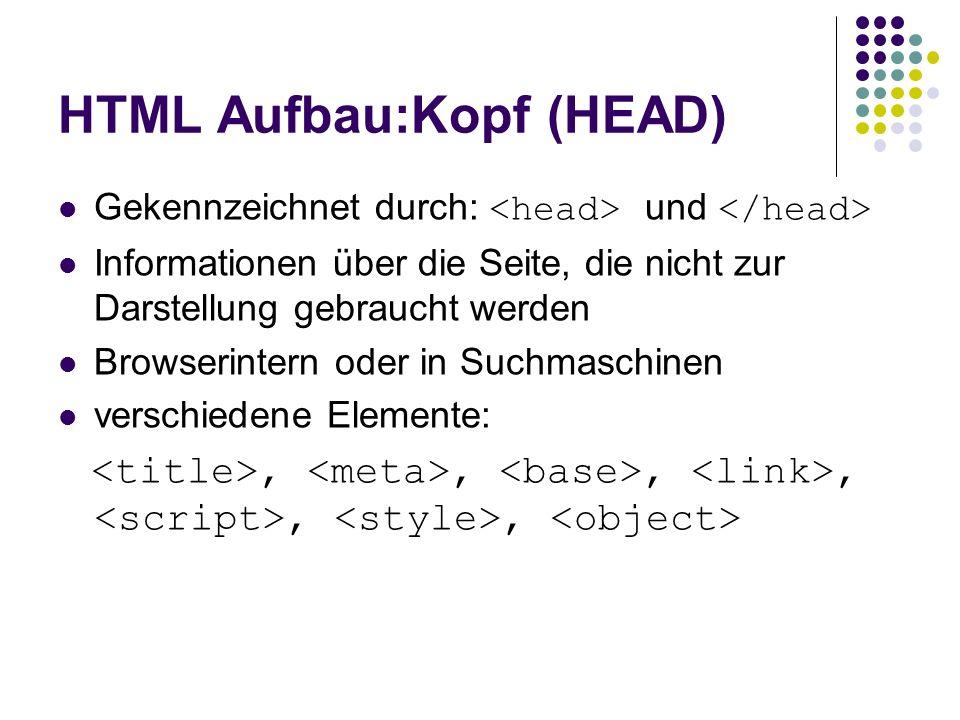 HTML Aufbau:Kopf (HEAD)