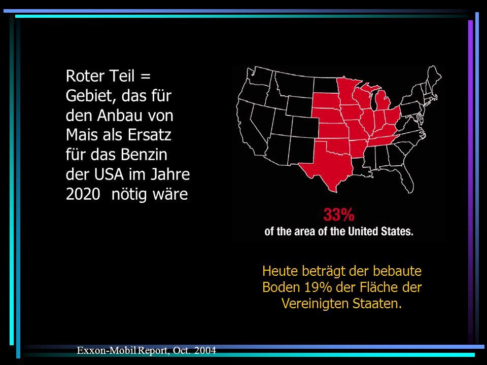 Roter Teil = Gebiet, das für den Anbau von Mais als Ersatz für das Benzin der USA im Jahre 2020 nötig wäre
