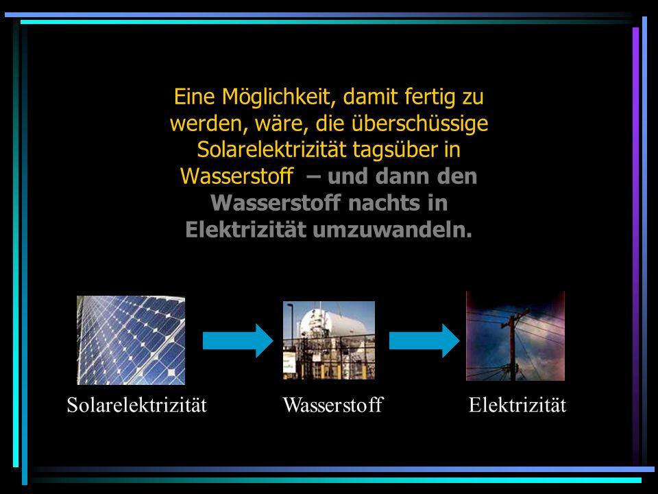 Eine Möglichkeit, damit fertig zu werden, wäre, die überschüssige Solarelektrizität tagsüber in Wasserstoff – und dann den Wasserstoff nachts in Elektrizität umzuwandeln.