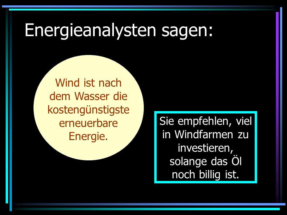 Energieanalysten sagen: