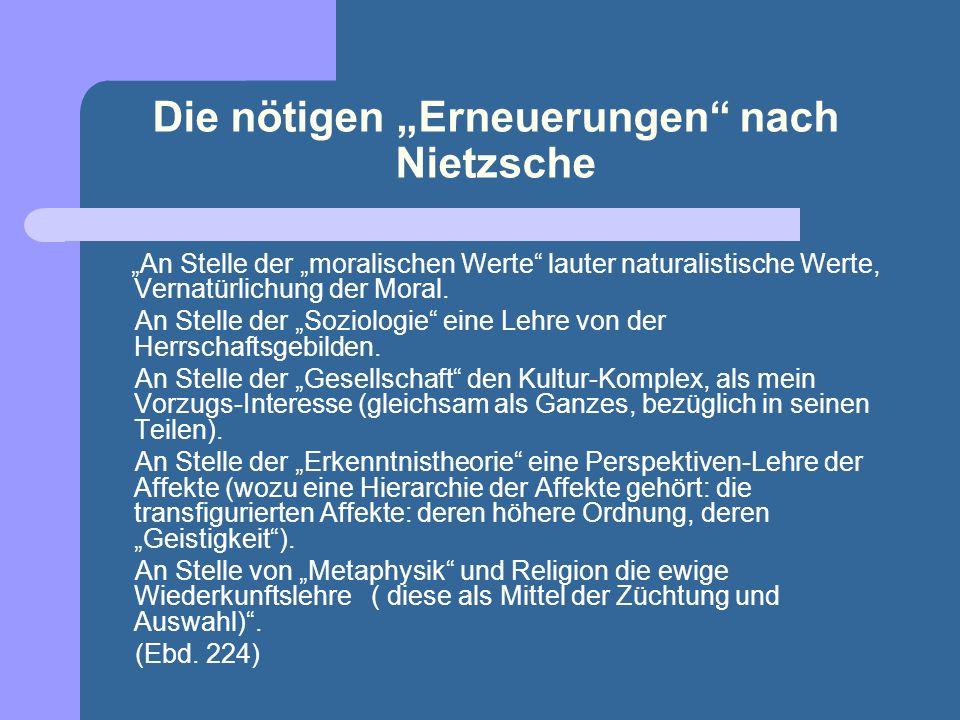 """Die nötigen """"Erneuerungen nach Nietzsche"""