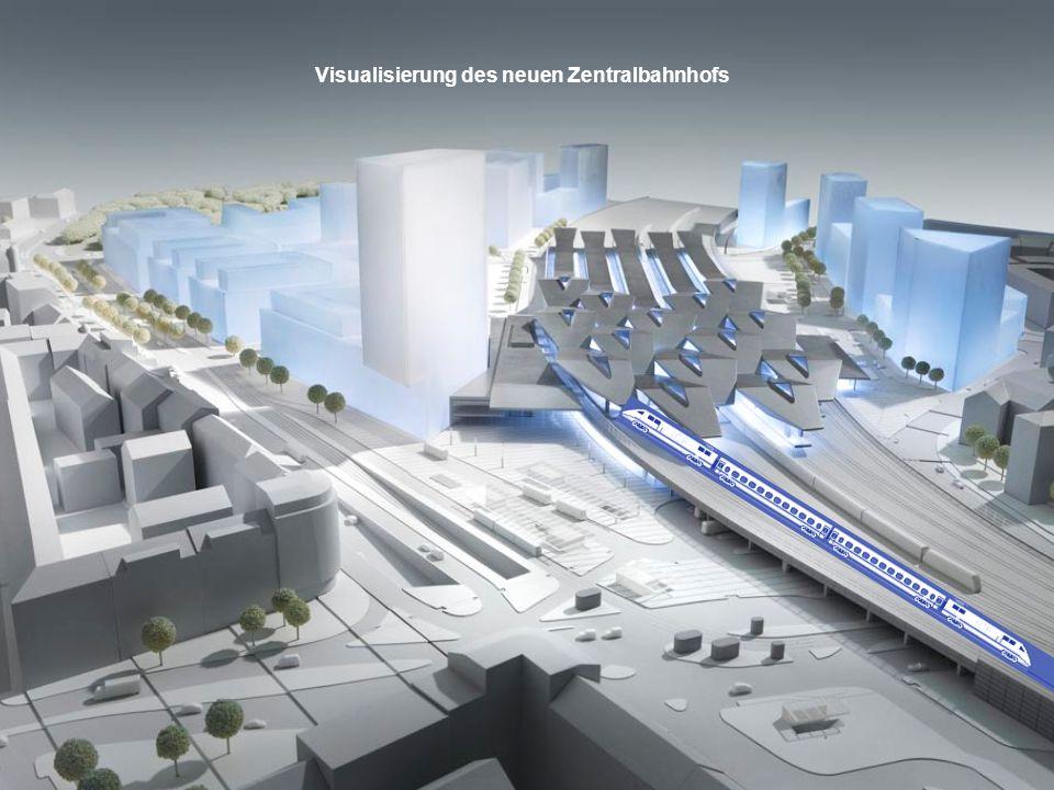 Visualisierung des neuen Zentralbahnhofs