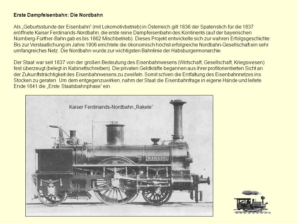 Erste Dampfeisenbahn: Die Nordbahn