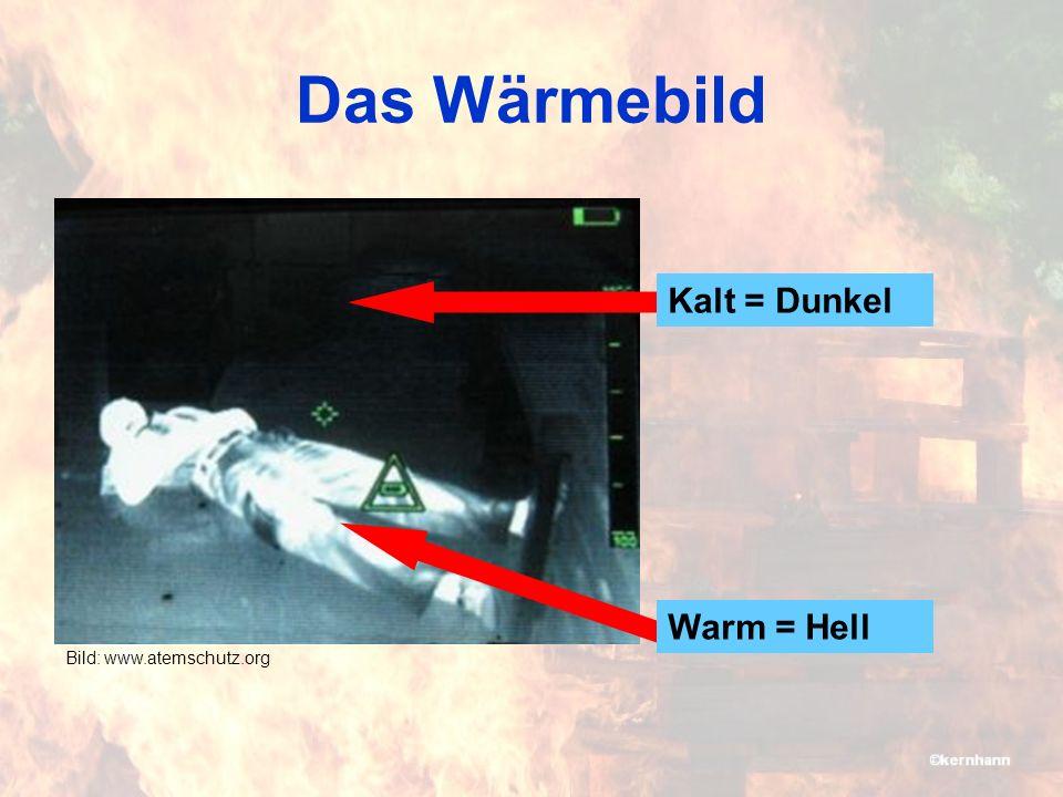 Das Wärmebild Kalt = Dunkel Warm = Hell