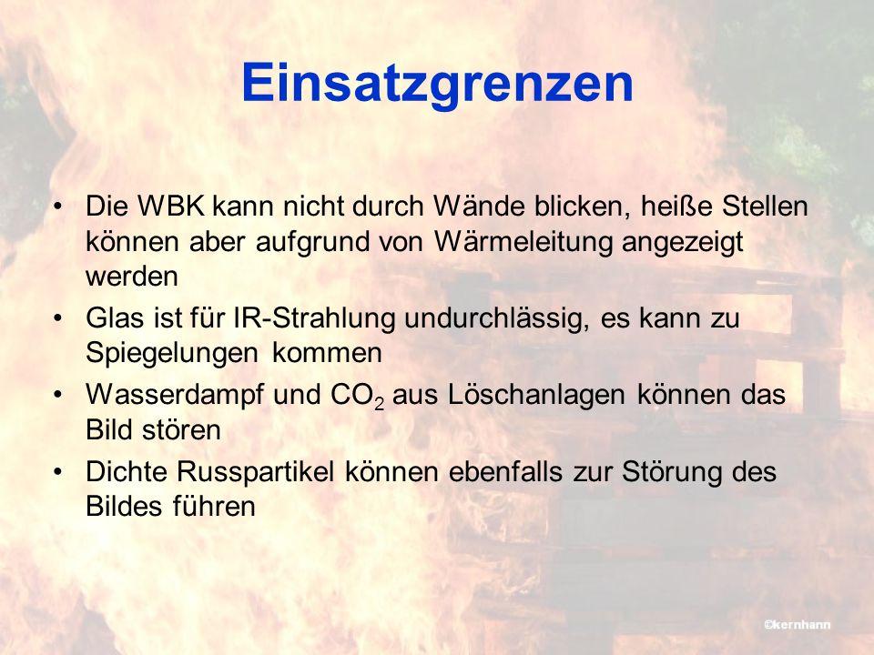 Einsatzgrenzen Die WBK kann nicht durch Wände blicken, heiße Stellen können aber aufgrund von Wärmeleitung angezeigt werden.