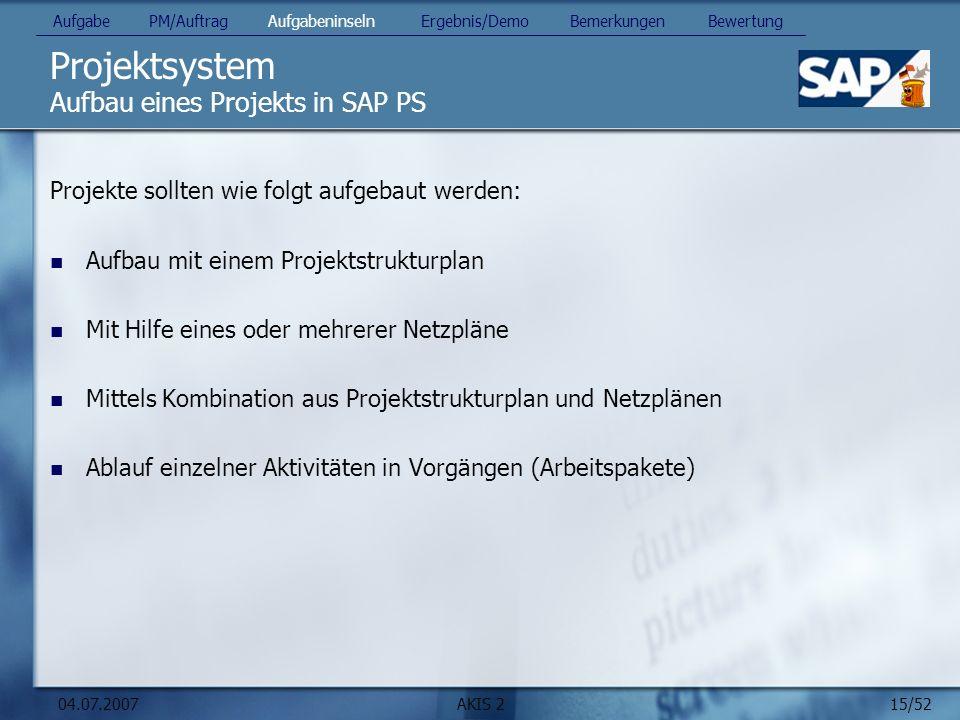 Projektsystem Aufbau eines Projekts in SAP PS