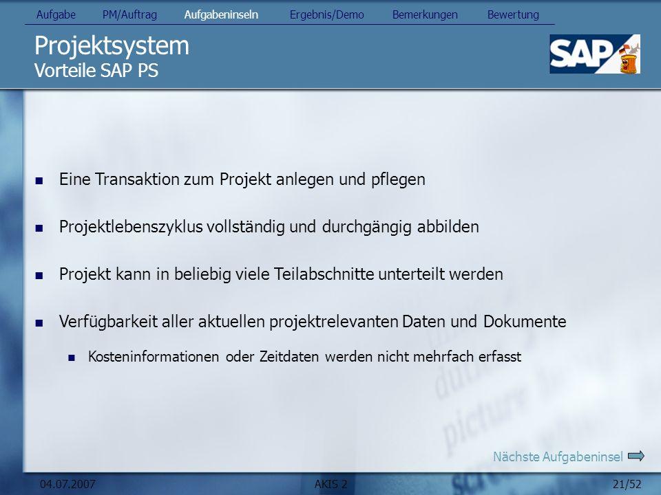 Projektsystem Vorteile SAP PS