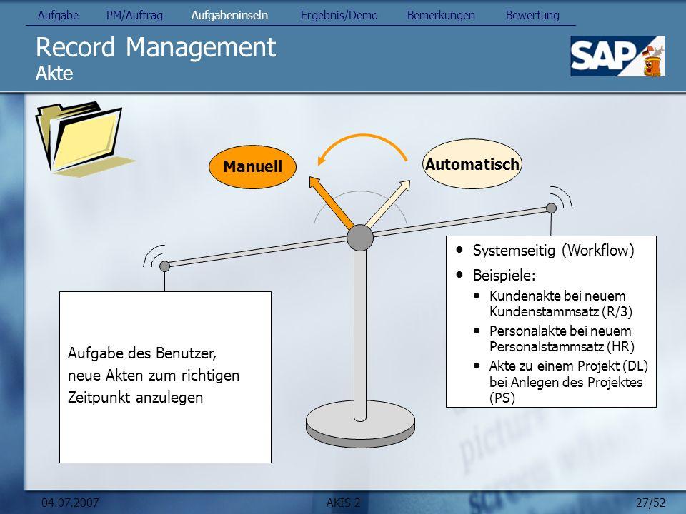 Record Management Akte Manuell Automatisch Systemseitig (Workflow)