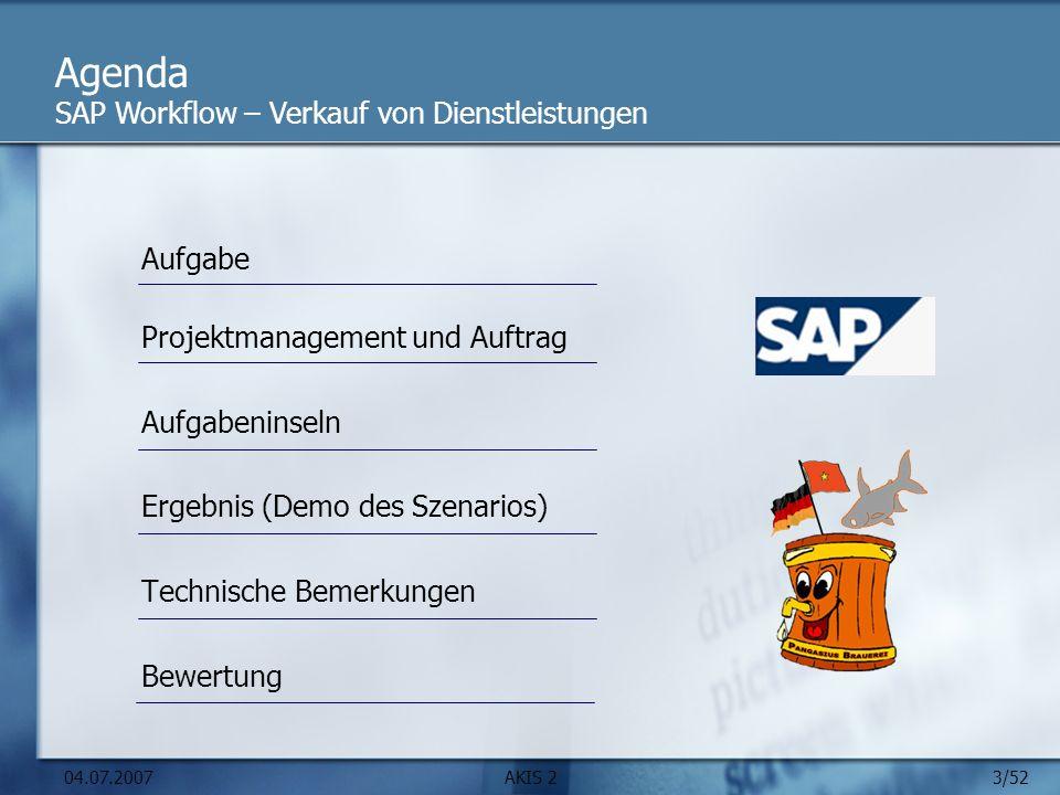 Agenda SAP Workflow – Verkauf von Dienstleistungen Aufgabe