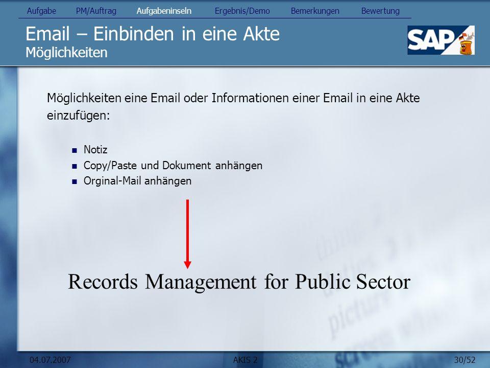 Email – Einbinden in eine Akte