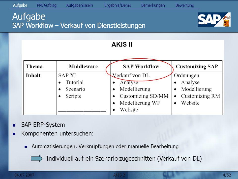 Aufgabe SAP Workflow – Verkauf von Dienstleistungen SAP ERP-System