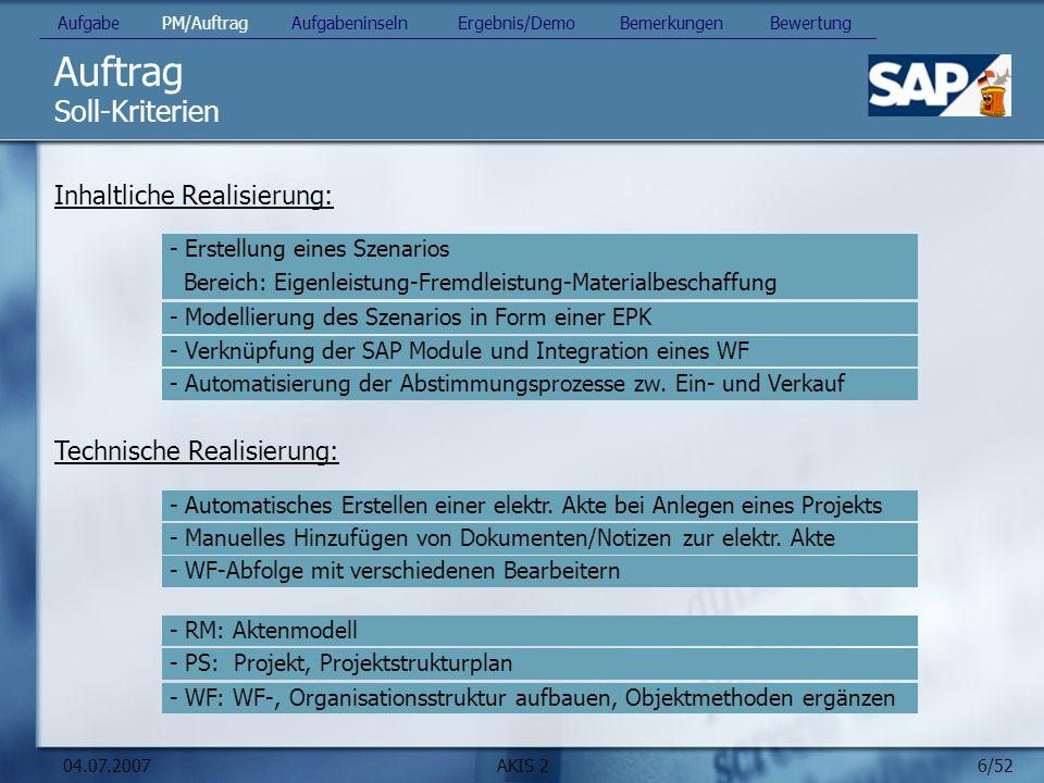 Auftrag Soll-Kriterien Inhaltliche Realisierung:
