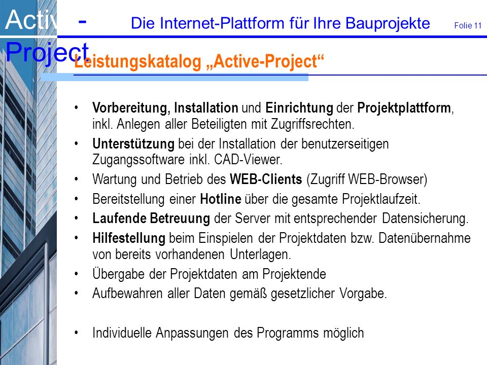 "Leistungskatalog ""Active-Project"