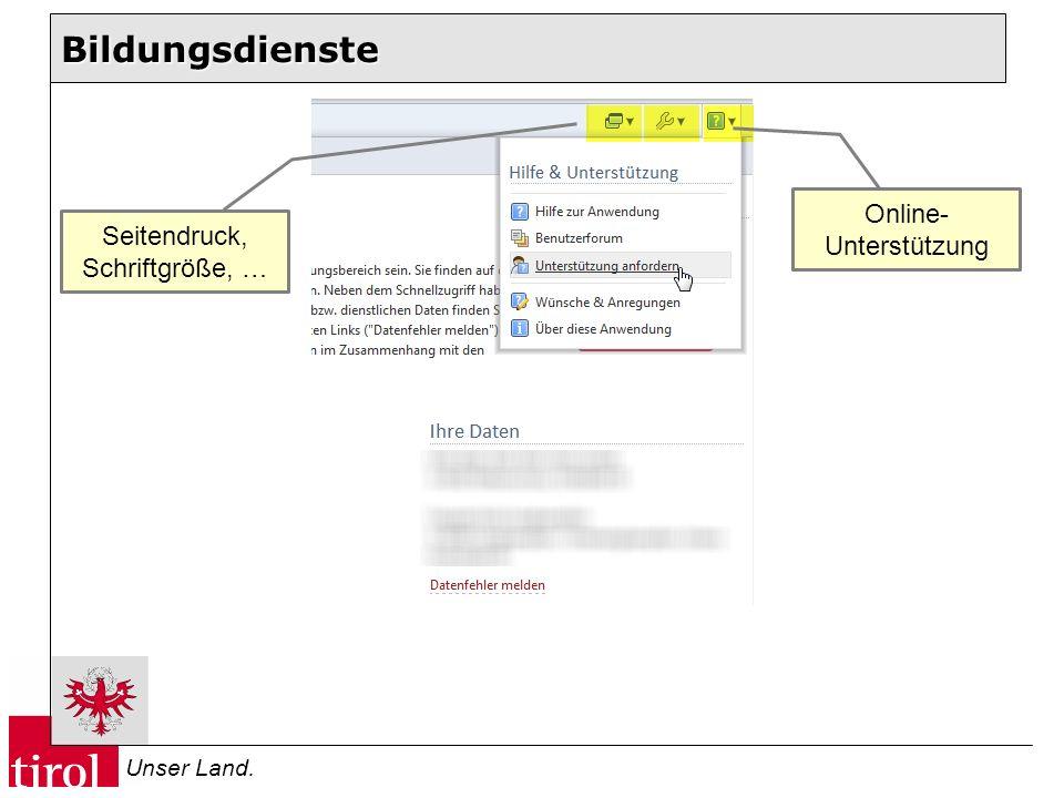 Bildungsdienste Online- Unterstützung Seitendruck, Schriftgröße, …