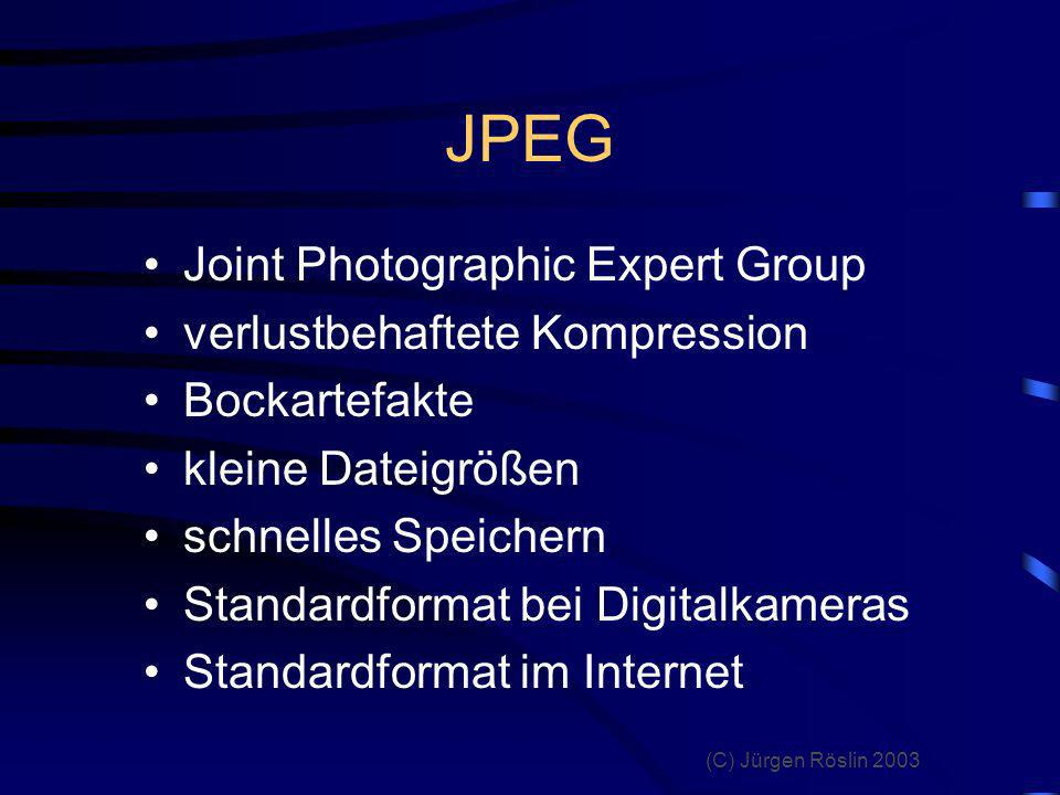 JPEG Joint Photographic Expert Group verlustbehaftete Kompression