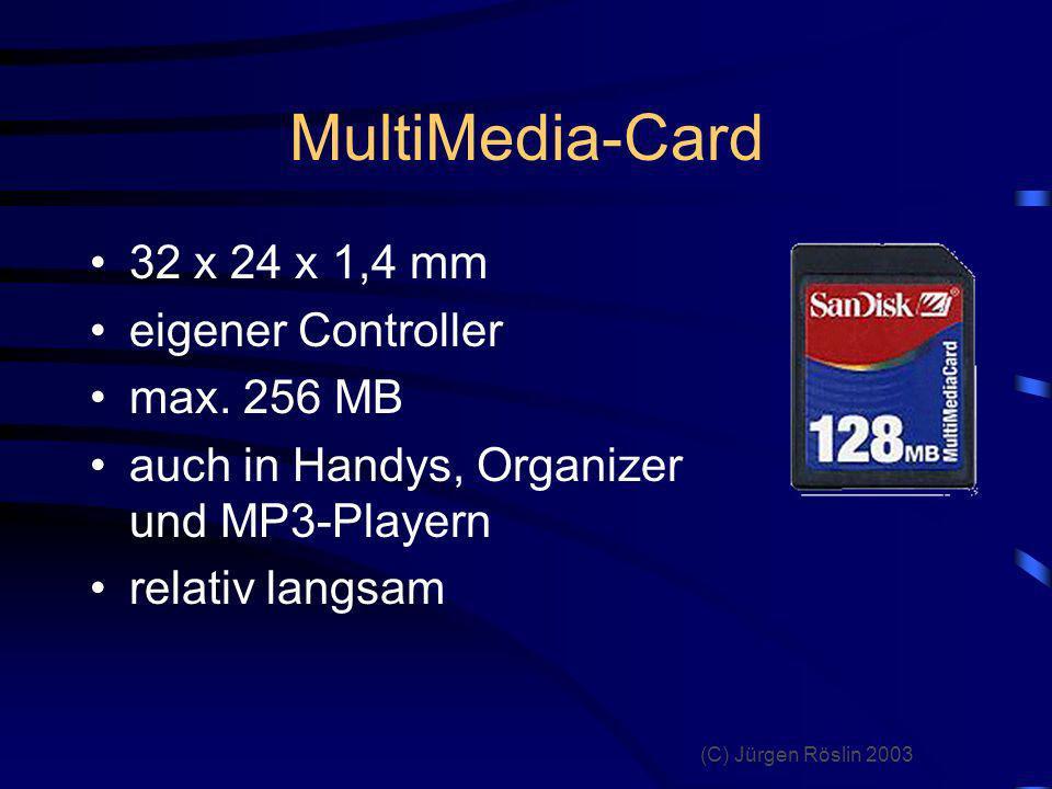 MultiMedia-Card 32 x 24 x 1,4 mm eigener Controller max. 256 MB