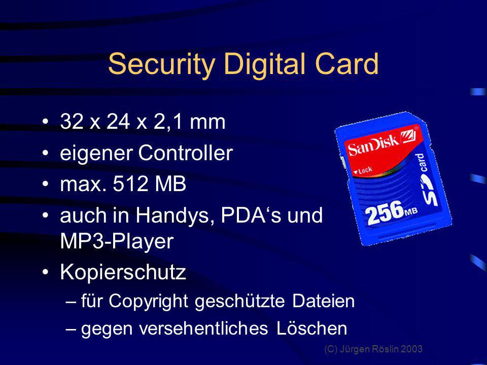 Security Digital Card 32 x 24 x 2,1 mm eigener Controller max. 512 MB