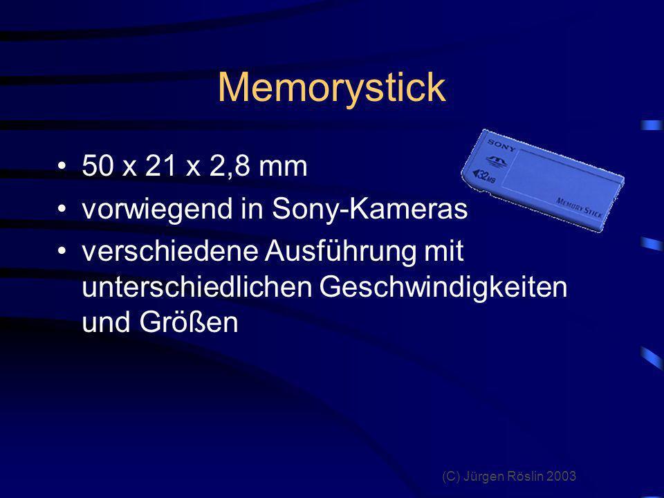 Memorystick 50 x 21 x 2,8 mm vorwiegend in Sony-Kameras