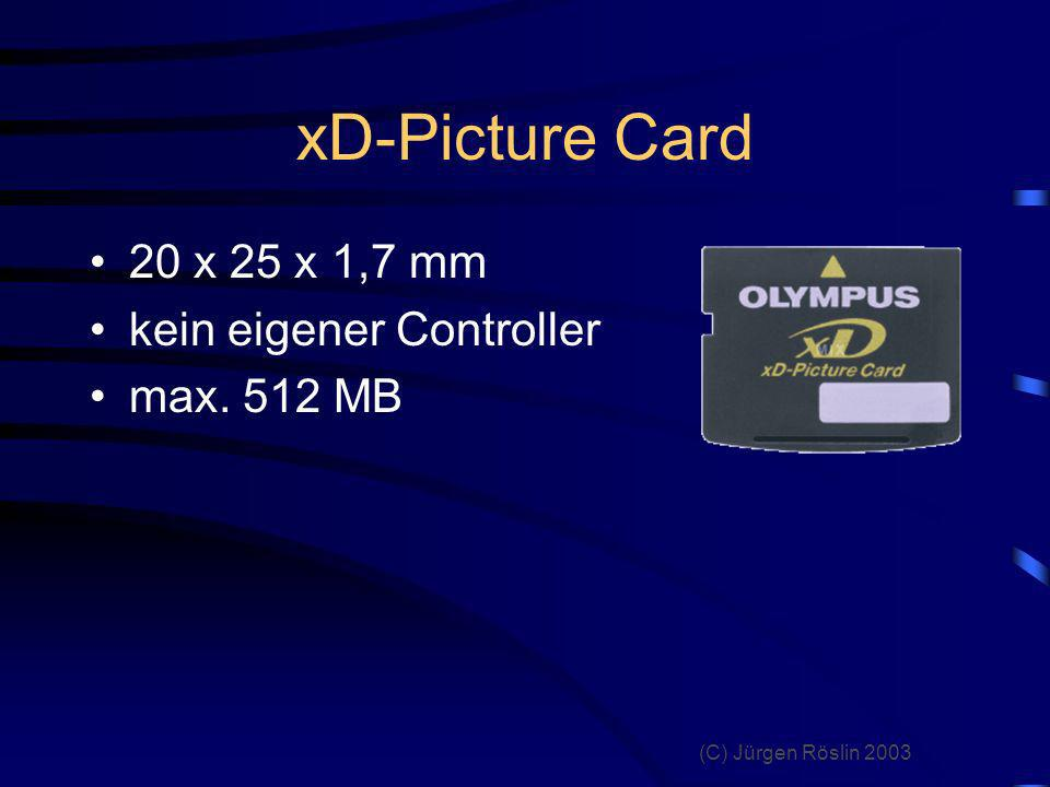 xD-Picture Card 20 x 25 x 1,7 mm kein eigener Controller max. 512 MB