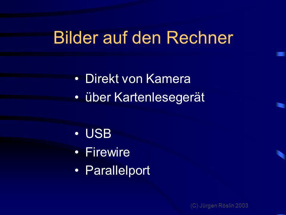Bilder auf den Rechner Direkt von Kamera über Kartenlesegerät USB
