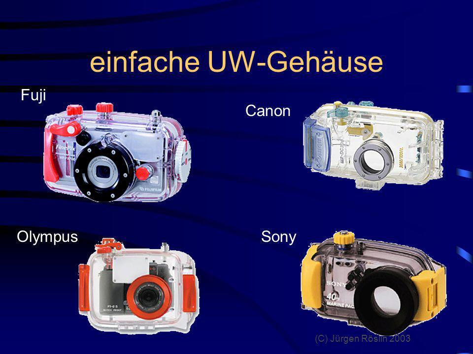 einfache UW-Gehäuse Fuji Canon Olympus Sony beispielhaft