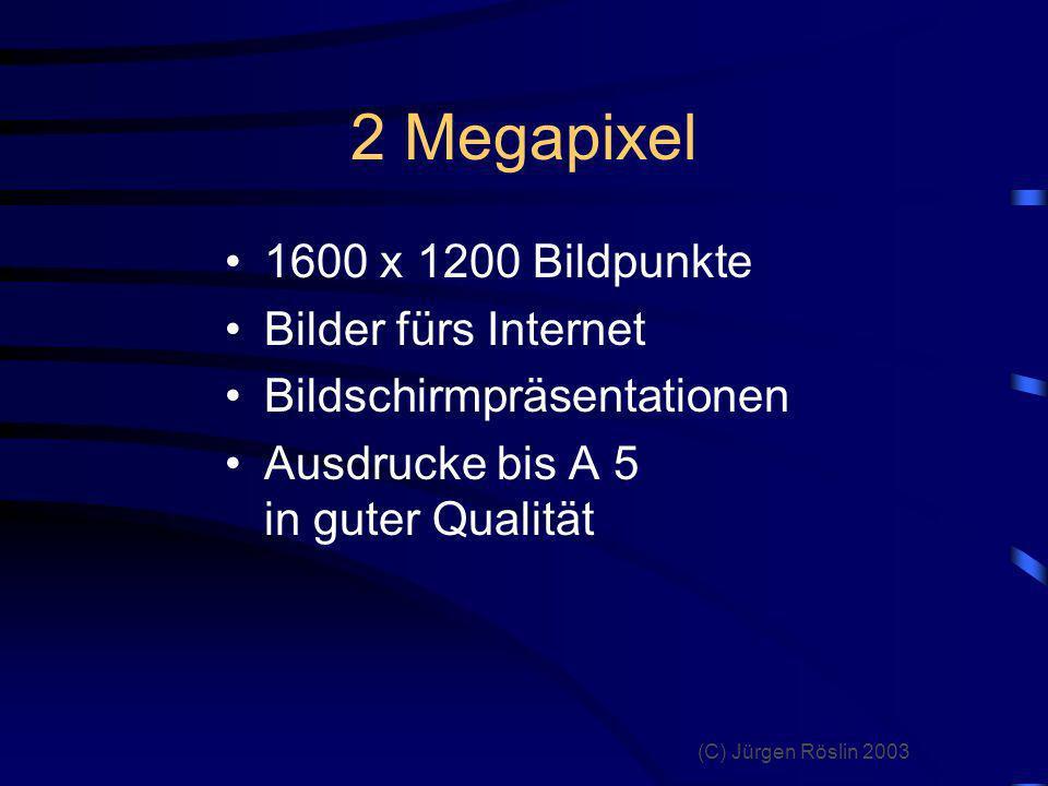 2 Megapixel 1600 x 1200 Bildpunkte Bilder fürs Internet