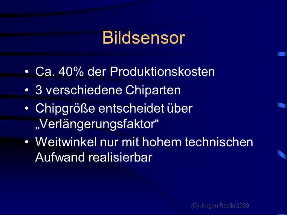 Bildsensor Ca. 40% der Produktionskosten 3 verschiedene Chiparten